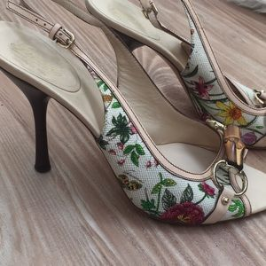 Gucci bamboo floral mule sandal heels